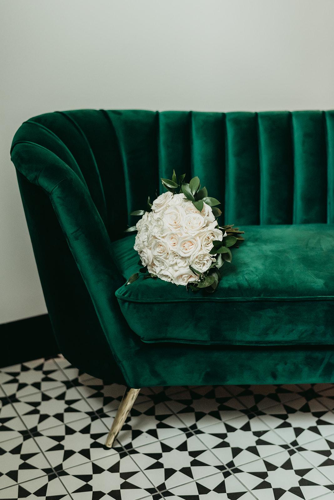 upper east green velvet couch