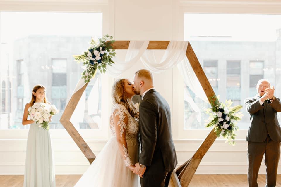 wedding ceremony in Kenosha Wisconsin, at Upper East.